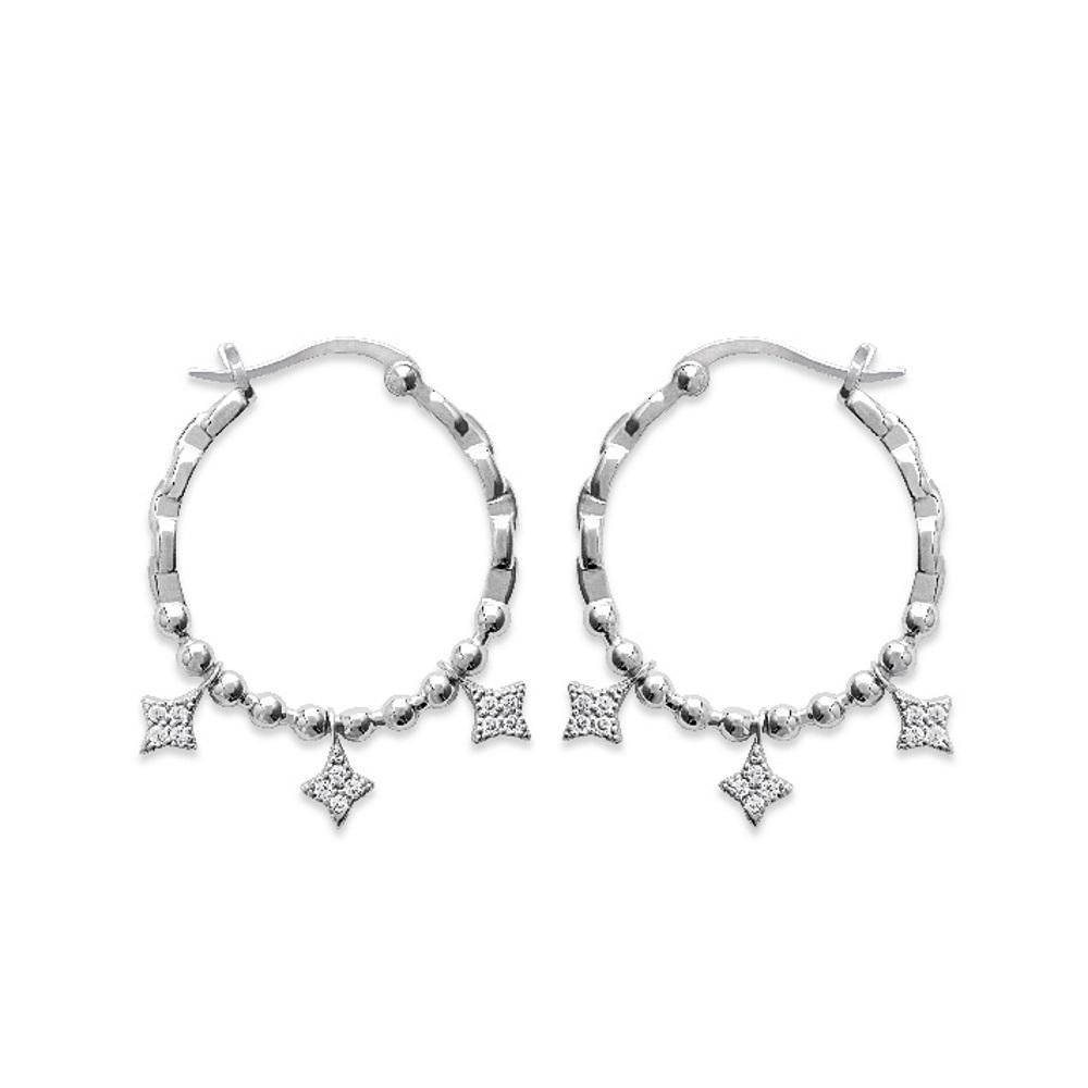 Boucles d oreilles créoles en argent 925 000 rhodié et étoiles pendantes en  oxydes f05186eef5b4