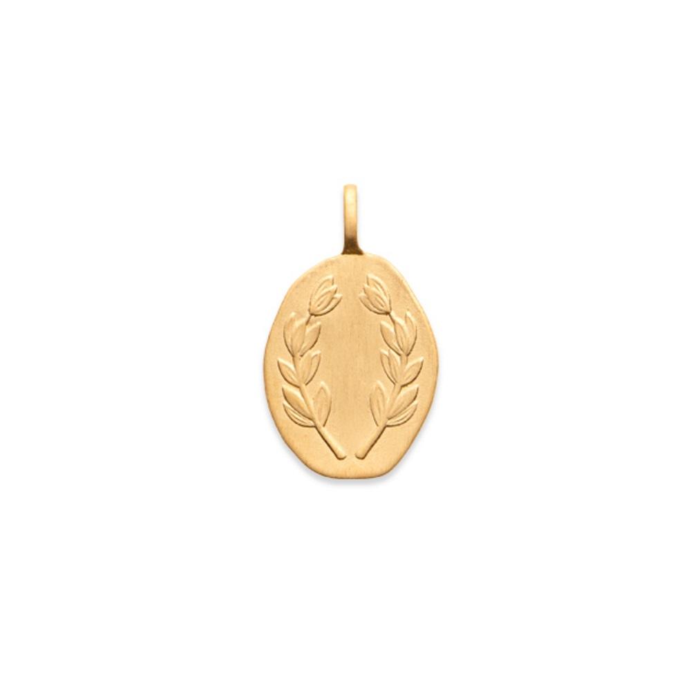 a38db6026ea93 Pendentif couronne branches de laurier en plaqué or. Laurier Ovale  Adolescent Adulte Femme Fille Gravure