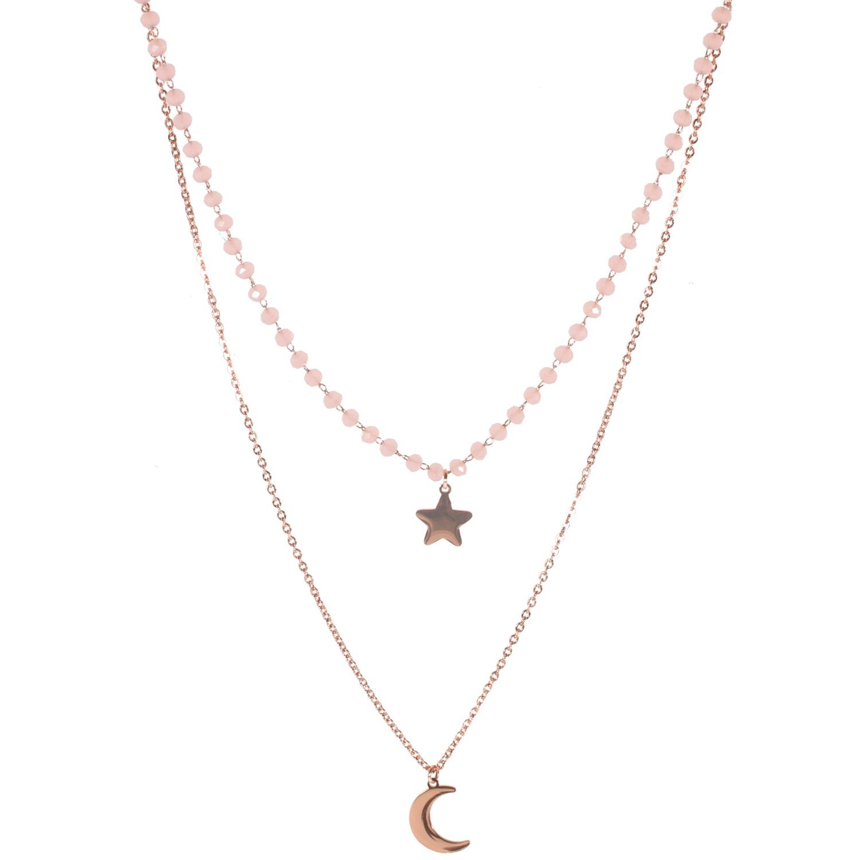 5dd0fe2bb6013 Collier multi rangs avec pendentifs étoile et croissant de lune en acier  rosé et perles de