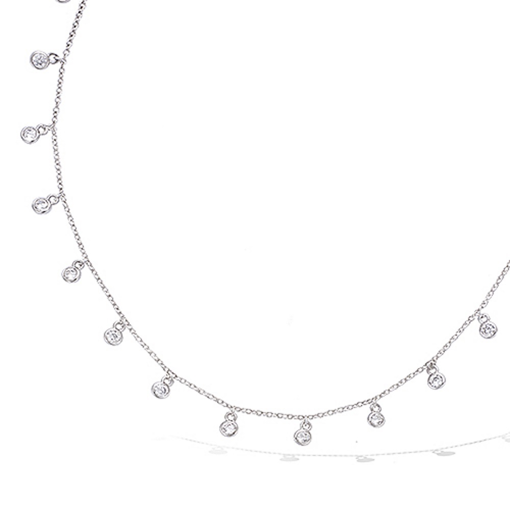 collier argent pampilles