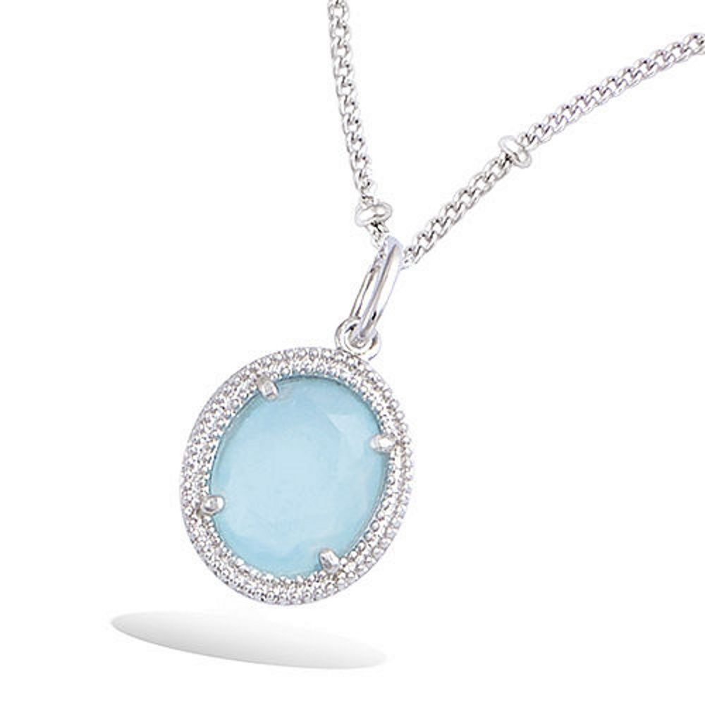 b22560e2da0 Pendentif en argent 925 000 rhodié et pierre ovale de couleur bleue. Ovale  Adolescent