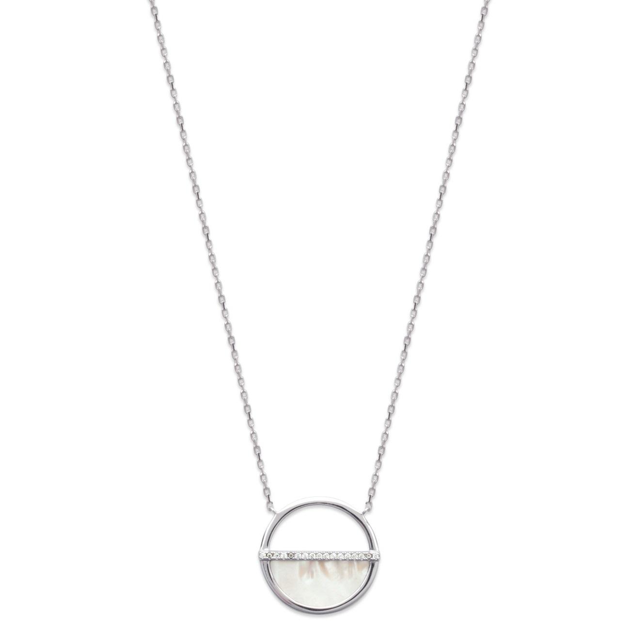 Collier en argent 925 000 rhodié, nacre et oxydes de zirconium. Cercle Rond 1dc7e0490152