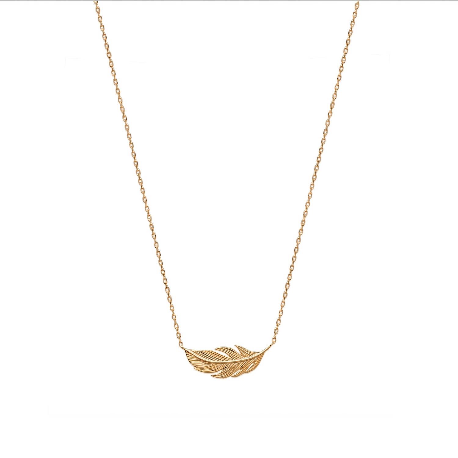 Collier plume en plaqué or. Plume  Adolescent Adulte Femme Fille Indémodable Nature