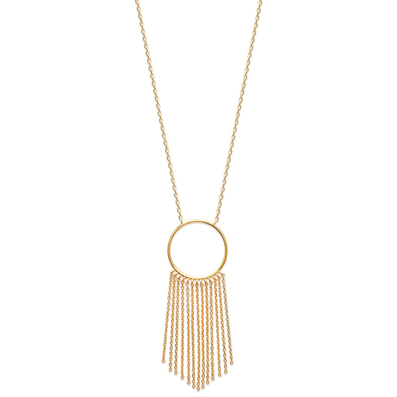 Collier avec pendentif cercle et franges en plaqué or. Cercle Adolescent  Adulte Femme Fille Indémodable a5d129092bfc