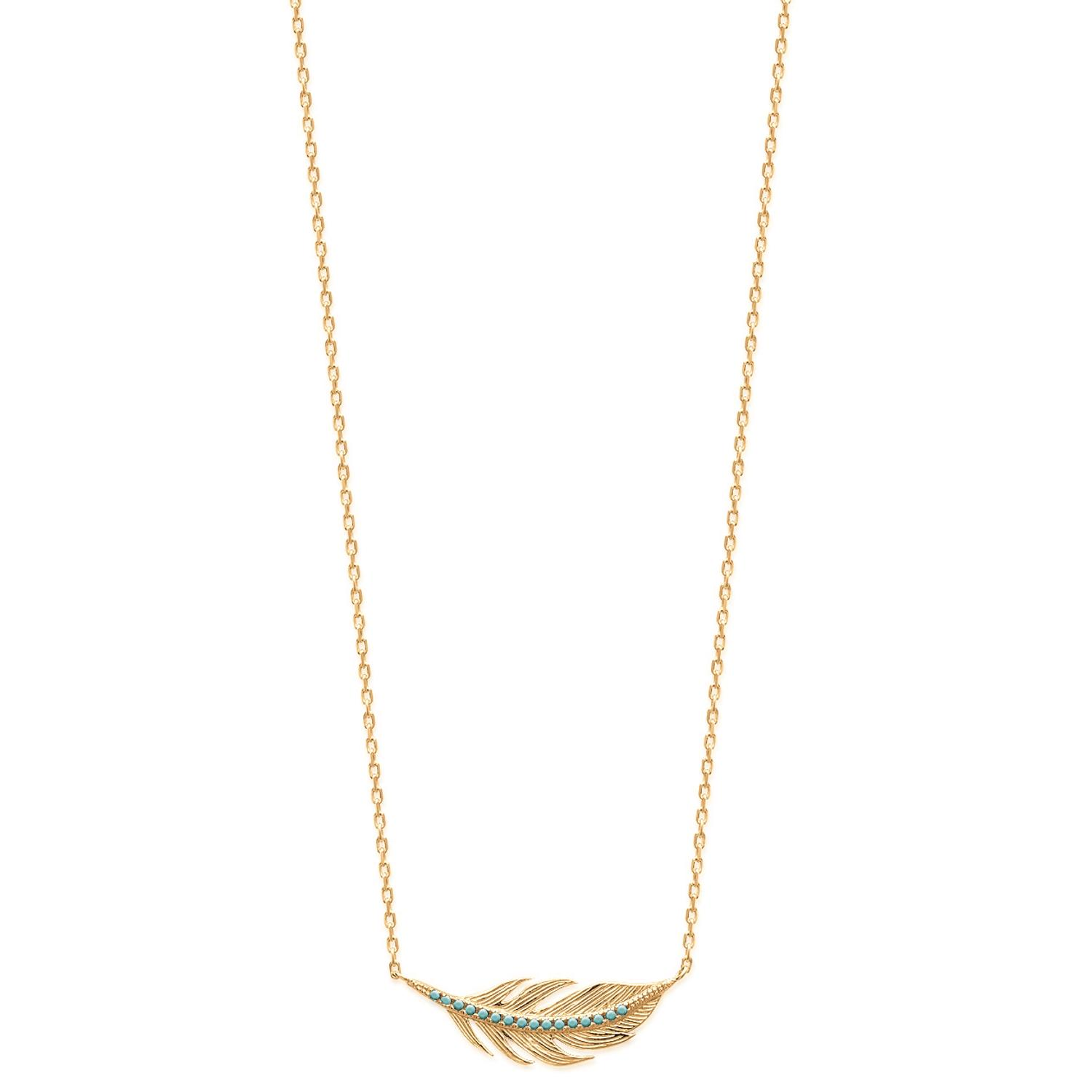 collier or femme plume