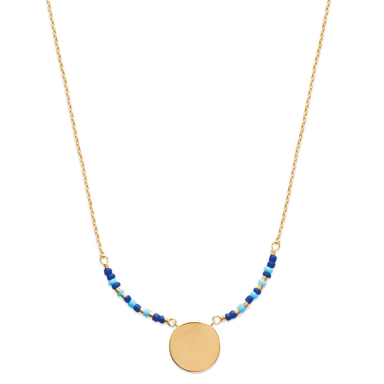 256747e70979b Collier avec pendentif rond en plaqué or et pierres synthétiques. Rond  Adolescent Adulte Femme Fille