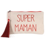 Sac pochette avec pompon en textile avec l'inscription en paillette : Super maman.