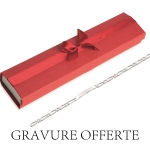Pack comprenant: - Une gourmette femme 18cm (visible <a href='http://www.mary-jane.fr/mws/popup.php?page=10&art=2554'>ici</a>) - Un écrin rouge (visible <a href='http://www.mary-jane.fr/mws/popup.php?page=1&art=20021'>ici</a>) - La gravure offerte