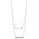 Collier en argent 925/000 rhodié et oxyde de zirconium.<br/>2 rangs. Multirangs Rectangle  Adolescent Adulte Femme Fille Gravure Indémodable